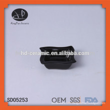 black snack bowl,ceramic pasta bowl,LFGB,FDA,CIQ,CE / EU,SGS,EEC Certification and Porcelain Ceramic Type black square dish
