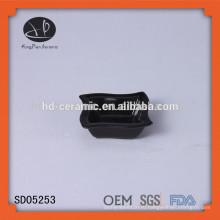 Черный миска для закуски, миска для керамических макарон, LFGB, FDA, CIQ, CE / EU, SGS, сертификация EEC и фарфоровая керамическая тарелка черного квадрата