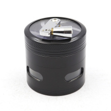 Hexagonal hand crank four-layer smoke grinder with side opening window