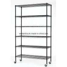 6 Tiers Estantería de alambre de acero recubierto de epoxi negro para almacenamiento y almacenamiento de garaje