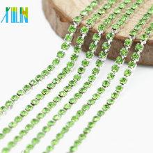 Fábrica al por mayor de Peridot Rhinestone de plata Dense Cup Chain Trim Jewelry