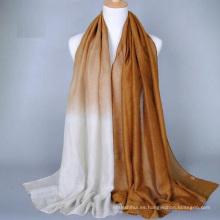 Nuevo estilo de la moda del color del gradiente de oro sello llano impreso hiyab estilos dubai hijab