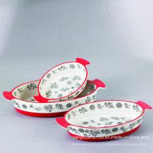 Diverso tamaño Mano que pinta la placa de cerámica esmaltada de Bakeware