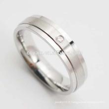 Bague de mariage en cristal en acier inoxydable 316L