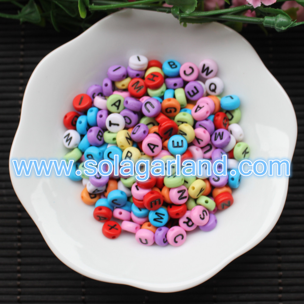 Round Acrylic Mix Alphabet Beads