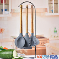 kitchen tools silicone cooking utensil with wood handle