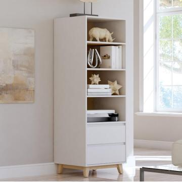 Contemporary Bookcase with Cabinet Design Solid Wood Leg