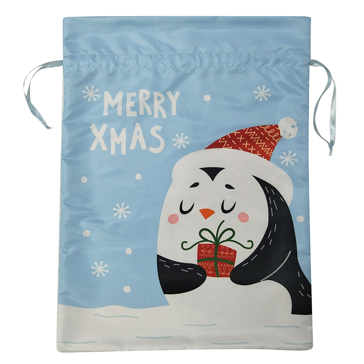 Christmas Penguin Drawstring Bag