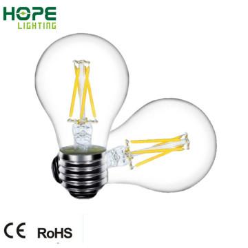 Bombilla de filamento de 8W 6W 4W E27 A60 LED