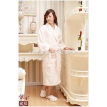 White Knee Length Shawl Collar Women Gender Fleece Bathrobe