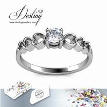 Destino joyería cristal Swarovski dulce amor anillo de