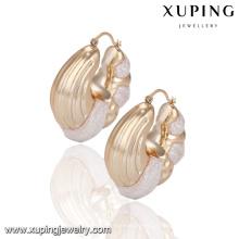92126 promoção preço de fábrica mulheres jóias de plástico com brincos de argola banhado a ouro