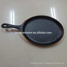 poêle à frire en fonte / poêle fajita / poêle / batterie de cuisine avec revêtement pré-séché