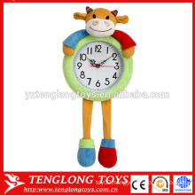 OEM Customized plush clock cover plush animal clock cover cow shaped plush cover