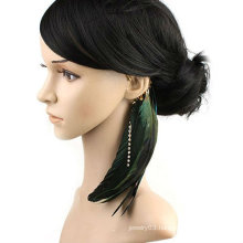 Natural Feather Earring Rhinestone Ear Cuff Individual Ear Clip EC30