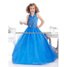 Sexy V-neckline beaded sequined ball gown halter blue flower girl pageant dress CWFaf5227