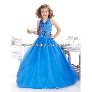 Sexy V-neckline rebordeado vestido de bola de lentejuelas halter vestido azul desfile de chica de flor CWFaf5227