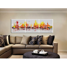 Lively City Wall Art Skyline Oil Painting