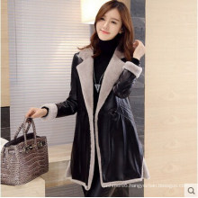 Long Shearling Leather Coat Black Leather Coat Long Style for Women Fur Coat