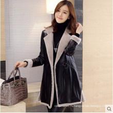 Длинные дубленки кожаное пальто Черное кожаное пальто долго стиль для женщин шуба
