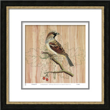 Hand-Painted Abstract Oil Painting with PS Frame for Bird Image