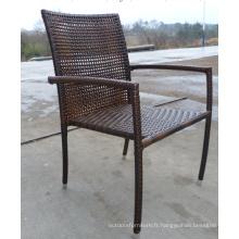 Rotin extérieur pile haute chaise dinante de bras