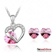 Herz geformte Kristall Halskette u. Ohrring-Sätze 9colors (ST-HQ0011-a-2)