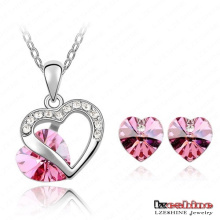 Heart Shaped Crystal Necklace&Earring Sets 9colors (ST-HQ0011-a-2)