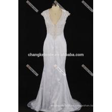 Sexy Deep Neck vestido nupcial ver a través de la espalda Lace Wedding Dresses