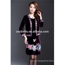 Herbst lila Trench Coat aus Samt und Spandex für Frauen Herstellung Expert Exporteur aus Guangzhou