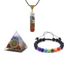 7 Chakra Hanging jewelry Decoration sets Pendant bracelet pyramid Crystal Windows Car acessories Good Lock Home Decorations Reik