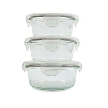 Набор стеклянных контейнеров для еды из стекла Pyrex 3PCS