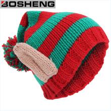 Bonitinho malha crochet inverno quente trançado baggy boina boné