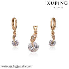 62229 Wholesale Fashion American simple white diamond 18k gold plated jewellery sets