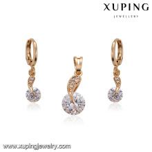 62229 Wholesale Fashion American simple white diamond 18k gold plated jewellery sets