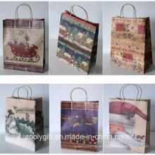 Venta al por mayor de Navidad reciclado Kraft Paper Gift Bags