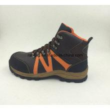 Deportes estilo divide cuero realzado seguridad zapatos al aire libre (16053)
