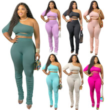 OEM China Factory 2021 Spring Cotton Solid Color Ruched Flare Pants Sexy Hollow One Shoulder Top 2 Piece Set
