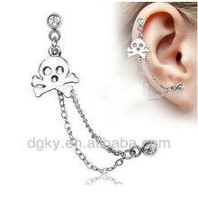 Boucles d'oreilles en cartilage à chaîne à double barre en acier chirurgical