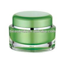 Oval 1oz plástico acrílico cosméticos jarra