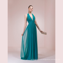 V Neck Halter Chiffon A Line Evening Dress