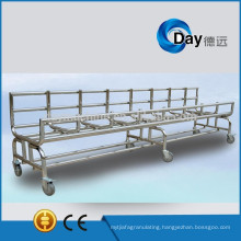 HM-7 stainless steel commercial laundry trolleys, heavy duty laundry cart between washer and dryer, STOCK hotel laundry trolley