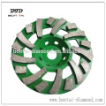 Fan cup wheel for the removal of Thick Coatings of Epoxyfrom Concrete