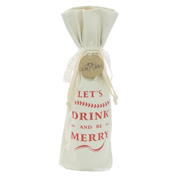 Canvas Cotton Christmas Drawstring Wine Bags