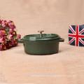 Mini utensilios de cocina ovalados de hierro fundido en color verde