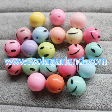 12-25MM Acrylic Round Smiling Face Beads Charms