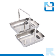 Popular Rectangular Stainless Steel Towel Serving Tray & Plate with Handle