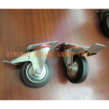 Industrial caster with brake