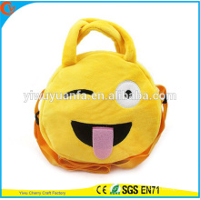 Hot Quality Charming Fashion Funny Cute Round Yellow Color Emoji Plush Drawstring Handbag