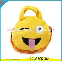 Горячая Качество Очаровательная Мода Забавные Милые Круглые Желтый Цвет Emoji Плюшевые Шнурок Сумки